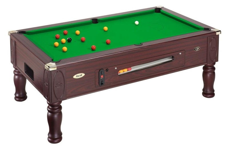 Ascot coin operated pool tables by dpt for Oak beauty pool table